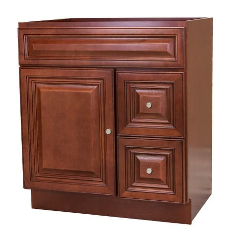 30x21 Cherry Bathroom Vanity Cabinet with Drawers