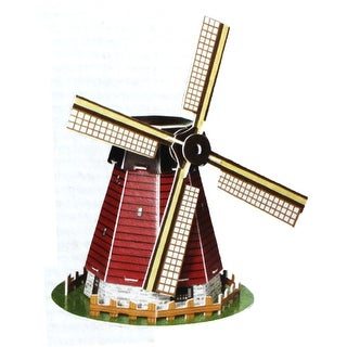 Child 3D Foam Holland Windmill Design Assembling Puzzle Toy Red Yellow