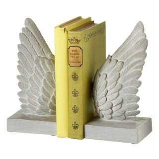 """Set of 2 Distressed White Cherub Angel Wings Religious Bookends 8"""""""