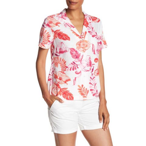 Tommy Bahama Falling Short Sleeve Linen Blend Camp Shirt, Red Floral, Medium