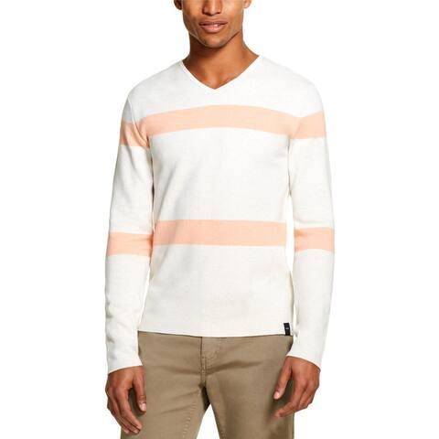 DKNY Mens V-Neck Sweater Striped Long Sleeves - S