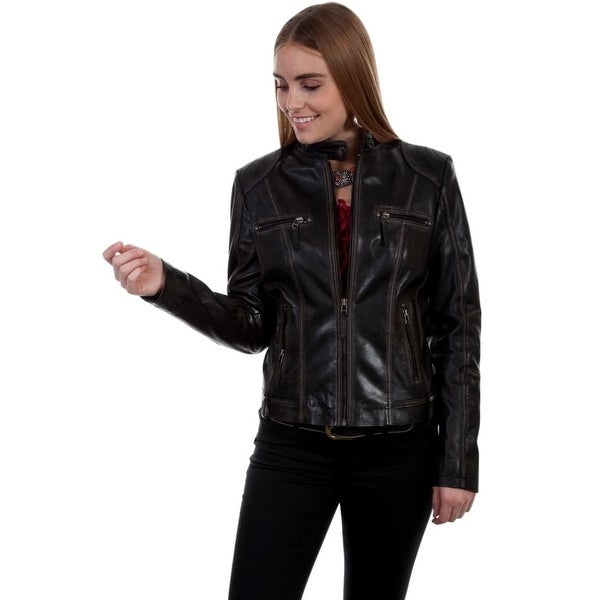 Scully Western Jacket Womens Tailored Leather Zip Closure Pockets