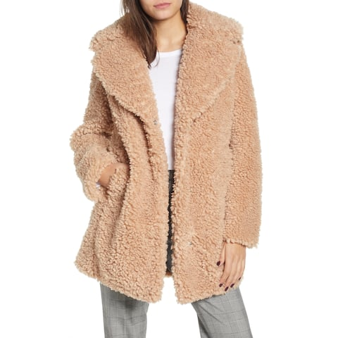 Kensie Pink Womens Size Small S Faux-Shearling Reversible Coat