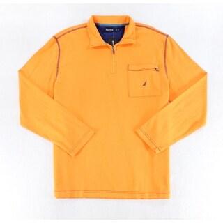 Nautica Orange Navy Blue Mens Size XL Pullover 1/2 Zip Jacket