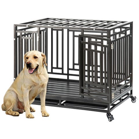 Heavy Duty Dog Crate Cage Kennel Strong Metal Frame Kennel Durable