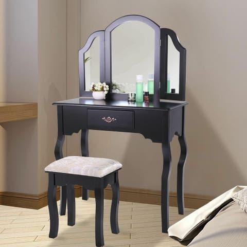 Wood Makeup Dressing Table Vanity Set Jewelry Desk Dresser Drawer