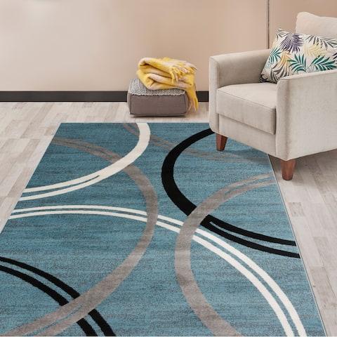 """Contemporary Abstract Circles Design Area Rug Blue - 6'6"""" x 9'"""