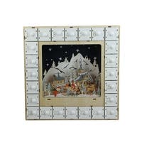 "13.25"" LED Lighted Battery Operated White Wooden Village Scene Advent Calendar"