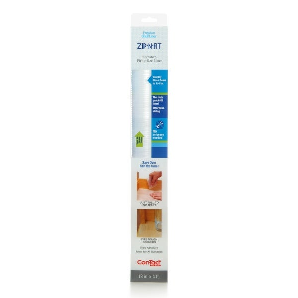 Con-Tact Brand Zip-N-Fit Ribbed Clear Non-Adhesive Non-Slip Shelf and Drawer Liner (Pack of 6). Opens flyout.
