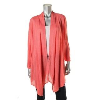 Nic + Zoe Womens Plus Open Front Linen Cardigan Sweater - 1X