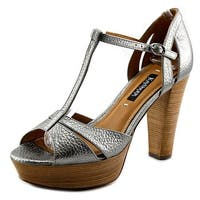 Kay Unger Garliste Women  Open Toe Leather Silver Platform Heel