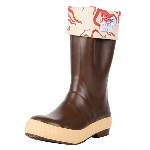 "Xtratuf Women's 15"" Salmon Sister Legacy Octopus Print Boots w/ Chevron Outsole - Size 7"