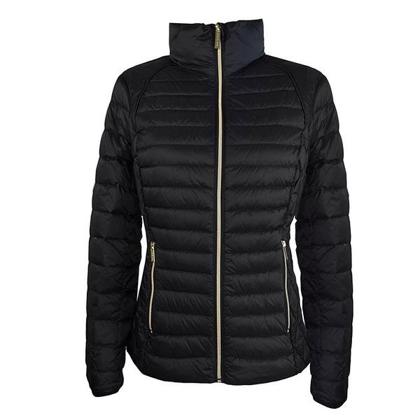 Michael Michael Kors Black Short Packable Coat Hidden Hood