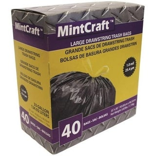 Mintcraft FG-O3812-03 Drawstring Trash Bag, 33 Gallon, Black