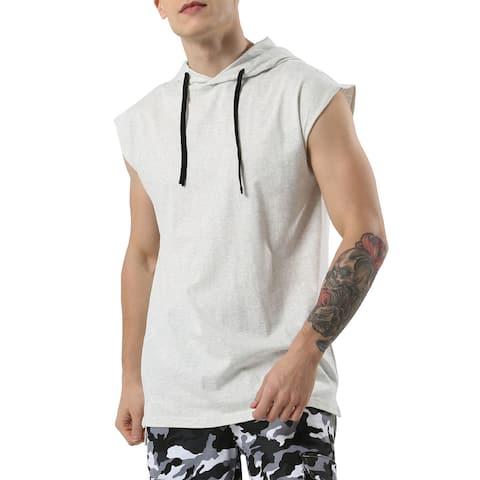 Men Workout Gym Pullover Vest Sweatshirt Hooded Shirt Sleeveless Tank Top - Light Gray