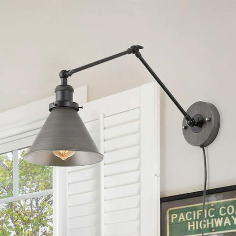 """Carbon Loft Merida Adjustable Swing Arm Wall Sconce Silver Brushed Plug-in Sconce Wall Lamp - L 21"""" x W 7.3 """"x H 8"""""""