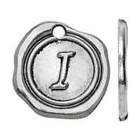 Lead-Free Pewter, Alphabet Charm Letter 'I' 18.5x19.5mm, 1 Piece, Antiqued Silver