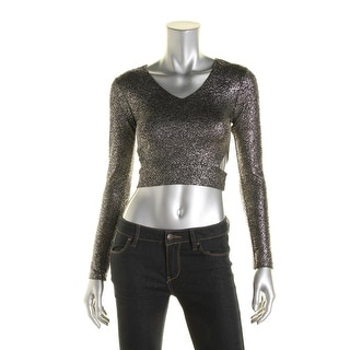 Aqua Womens Cutout Shimmer Crop Top