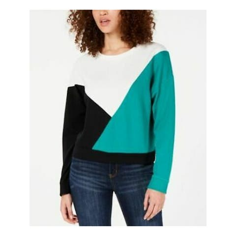 HIPPIE ROSE Womens Green Color Block Long Sleeve Sweater Size XL