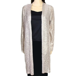 Alfani NEW Beige Women's Size Large L Sequin Knit Cardigan Sweater