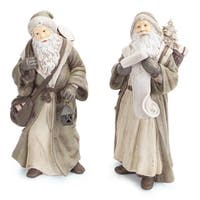 Set of 2 Gray and White Old World Style Santa Claus Christmas Figures 12""