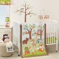 Bedtime Originals Friendly Forest White/Brown/Green Woodland Animals & Trees 3-Piece Nursery Baby Crib Bedding Set