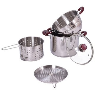 Costway 5PC Stainless Steel Stock Pot 7-Quart Pasta Cooker Set w/Lid and Steamer Inserts - as pic