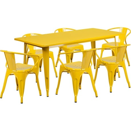 Brimmes 7pcs Rectangular 31.5'' x 63'' Yellow Metal Table w/6 Arm Chairs