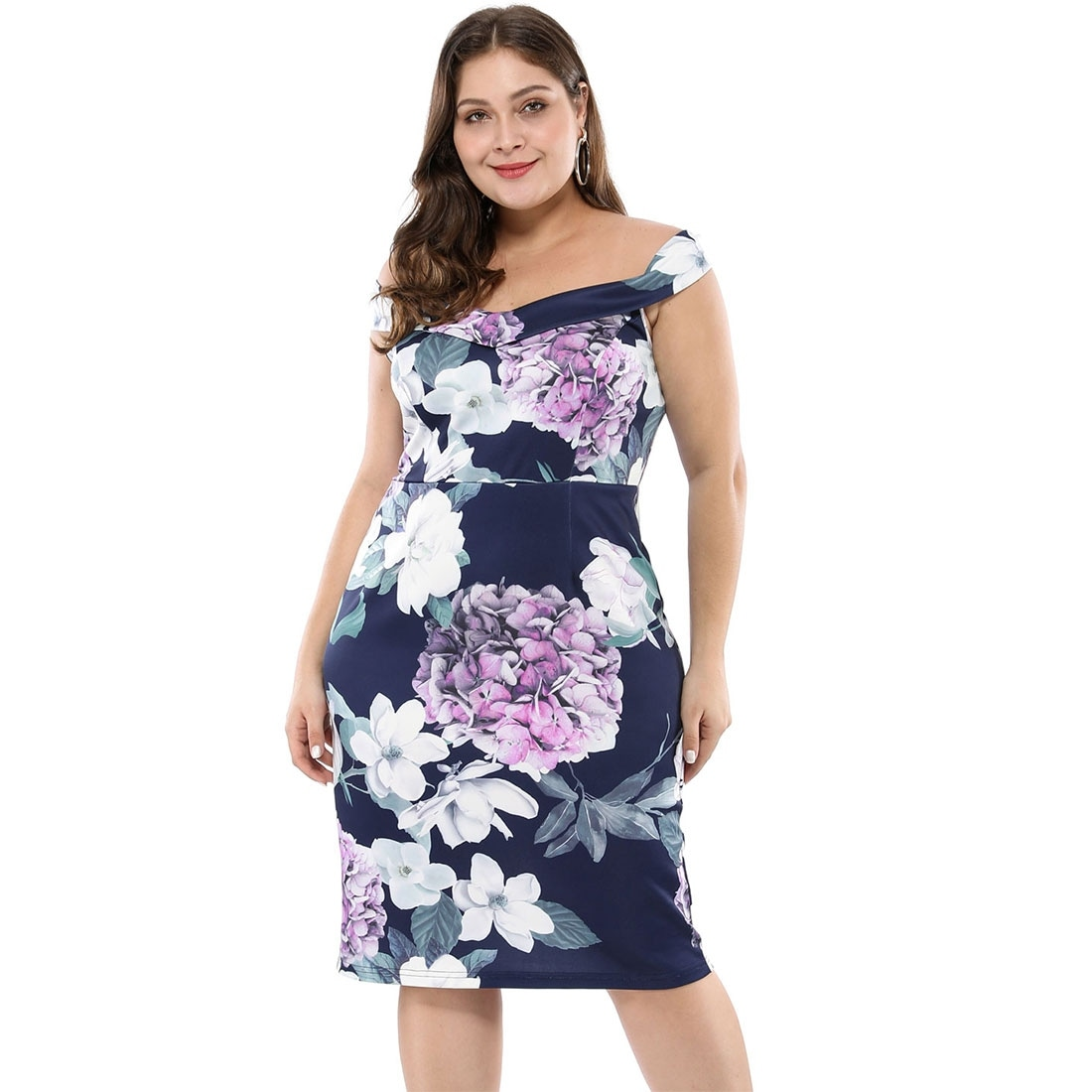 Women S Floral Print Off Shoulder Plus Size Cocktail Dress Blue Overstock 28338249