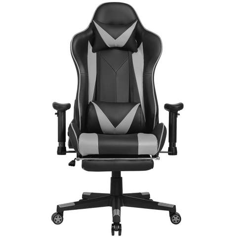 Modern Ergonomic Faux Leather Gaming Chair with Footrest