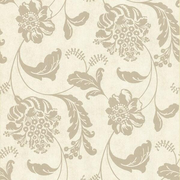 Brewster 62 65879 Aaliyah Beige Affabre Jacobean Wallpaper