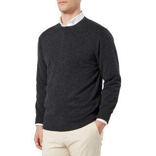Bloomingdales Mens 2-Ply Cashmere Crewneck Sweater Large L Charcoal Knitwear