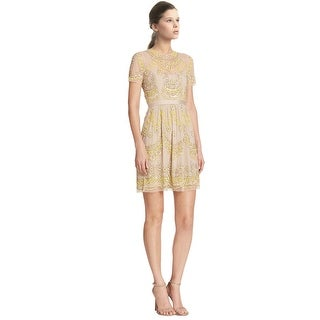Needle & Thread Sequined Floral Semi-Sheer Cocktail Dress - 8