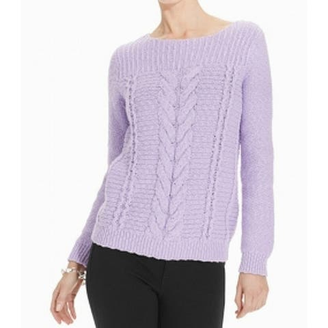 Jones York Womens Sweater Purple Size XL Boat Neck Cable-Knit