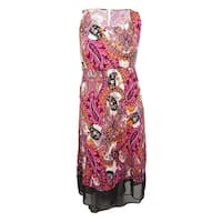 NY Collection Women's Plus Size Printed High-Low Maxi Dress - fuchsia grand