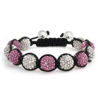 Bling Jewelry Shamballa Inspired Bracelet Fuchsia Crystal Beads 12mm Alloy - Pink