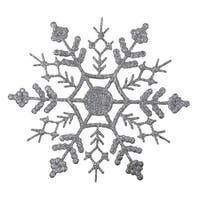Club Pack of 12 Silver Glitter Snowflake Christmas Ornaments 6.25""