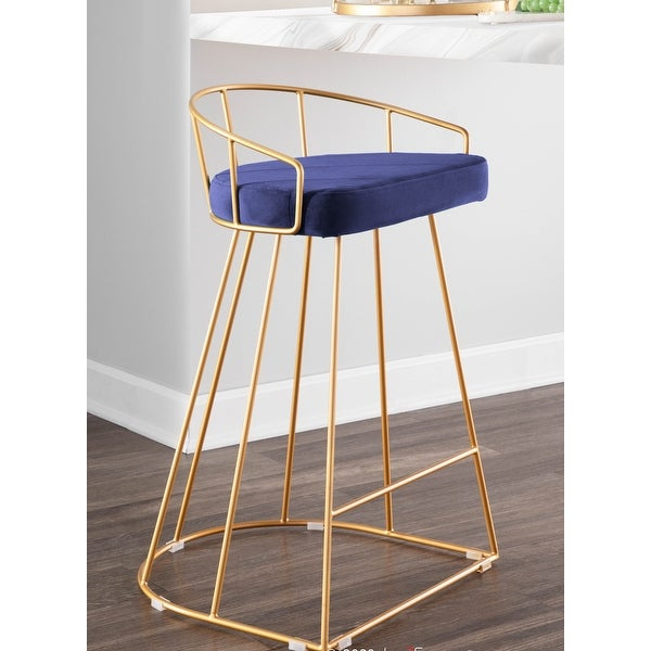 Canary Contemporary Counter Stool in Gold and Velvet (Set of 2). Opens flyout.