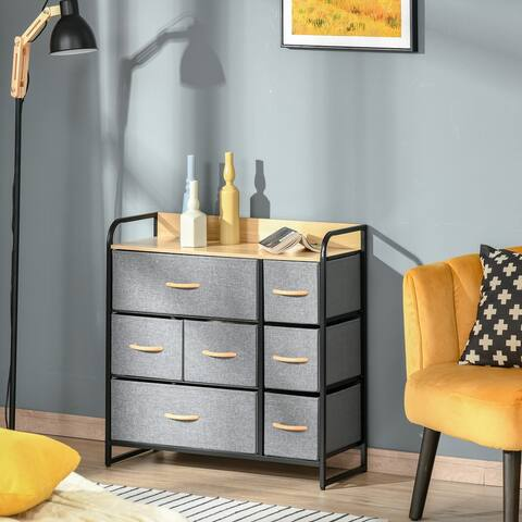 HOMCOM 7-Drawer Dresser, Fabric Chest of Drawers, 3-Tier Storage Organizer for Bedroom Hallway Entryway, Steel Frame Wooden Top
