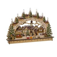 """17.5"""" Brown and Green LED Lighted Christmas Themed Village House Tabletop Decor"""