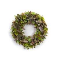 Set of 2 Extravagant Green Two-Tone Artificial Decorative Succulent Wreath 15
