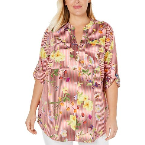 Calvin Klein Womens Plus Button-Down Top Floral Print Striped