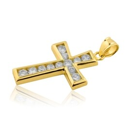 10K Yellow Gold Cross Pendant for Men 32mm Tall With CZ