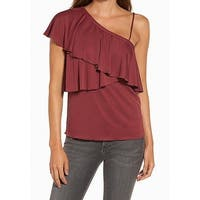 Chelsea28 Red Womens Size Large L Ruffled One Shoulder Blouse