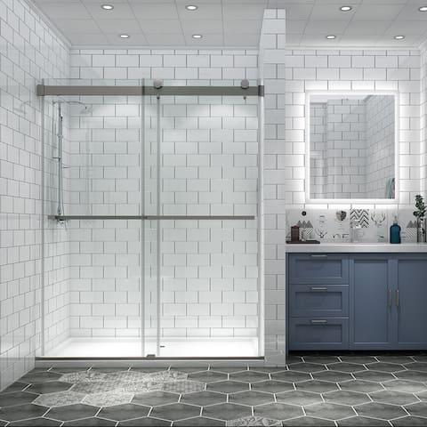 "OSBP31P2-BN 60"" x 70"" Frameless Double Sliding Shower Door, Clear Tempered Glass, Brush Nickel Finish - 56 to 60 in. x 74 in"