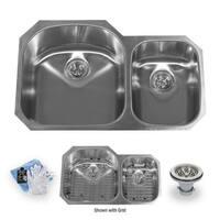 "Miseno MSS3220C7030 31-1/2"" Undermount Double Basin Stainless Steel Kitchen Sink with 70/30 Split - Drain Assemblies, Basin"