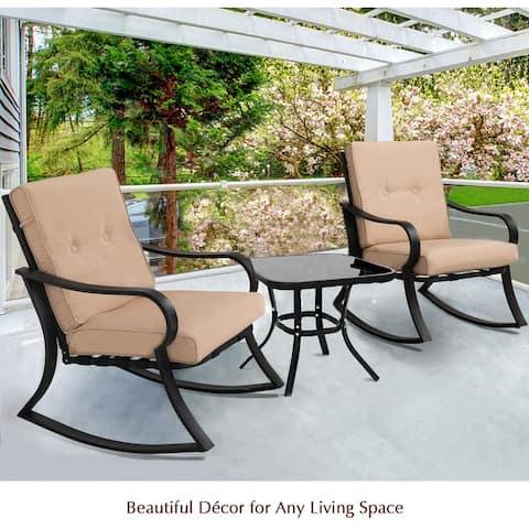 Solaura Outdoor 3-Piece Rocking Metal Bistro Set w/ Coffee Table