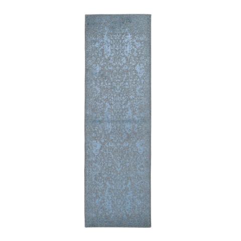 "Shahbanu Rugs Gray Jacquard Hand Loomed Wool and Art Silk Heriz Design Runner Oriental Rug (2'6"" x 8'0"") - 2'6"" x 8'0"""