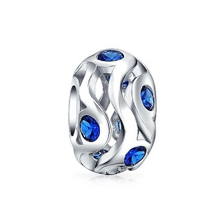 Bling Jewelry Blue CZ 925 Sterling Silver Bead Charm