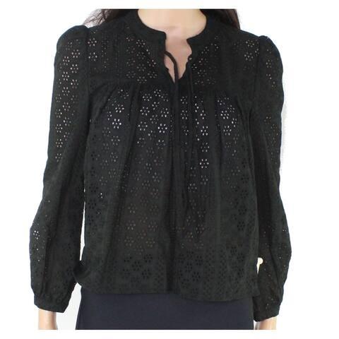 Madewell Women's Black Size XXS Floral Eyelet Knit Sheer Blouse
